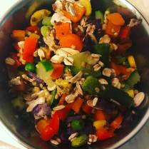 Boiled or steamed Carrots, Purple Sweet Potato, Sweet Pepper, Zuchinni, Frozen Mixed Veggies. Add Oats, Zupreem Sensible Seed, Roudybush Nibbles, Parrot Topper