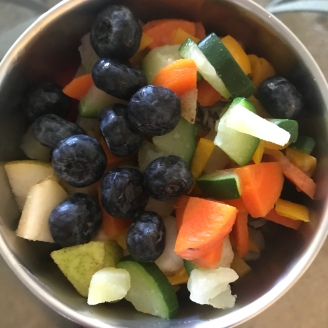 Blueberries, pears, grape tomatoes , carrots, potatoes, zucchini, sweet pepper, rolled oats, unsweetened coconut & chia seeds.